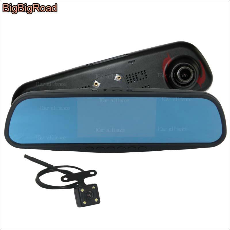 BigBigRoad pour ford explorer mondeo voiture écran bleu rétroviseur avant DVR + caméra de recul enregistreur vidéo avec support d'origine