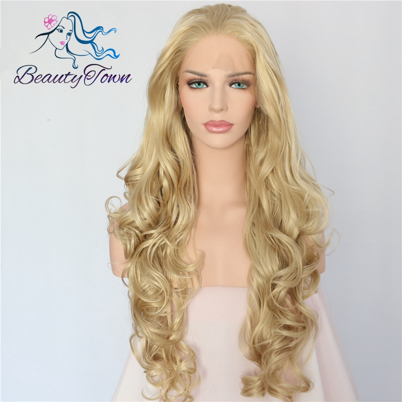 BeautyTown Hand Tied Platinum Blond Color High Temperature Fiber Hair Long Wavy Heat Resistant Glueless Synthetic
