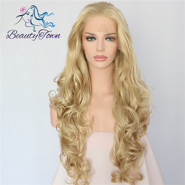 BeautyTown atado a mano Color rubio platino pelo de fibra de alta temperatura largo ondulado resistente al calor peluca frontal de encaje sintético sin pegamento