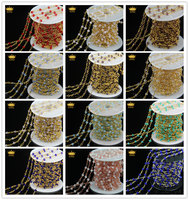 Colorful Spinel Rosary Style Beaded Chain,Plated Gold Wire Wrapped Glass Bead Rosary Chain Faceted Beads Jewelry Wholesale JD094