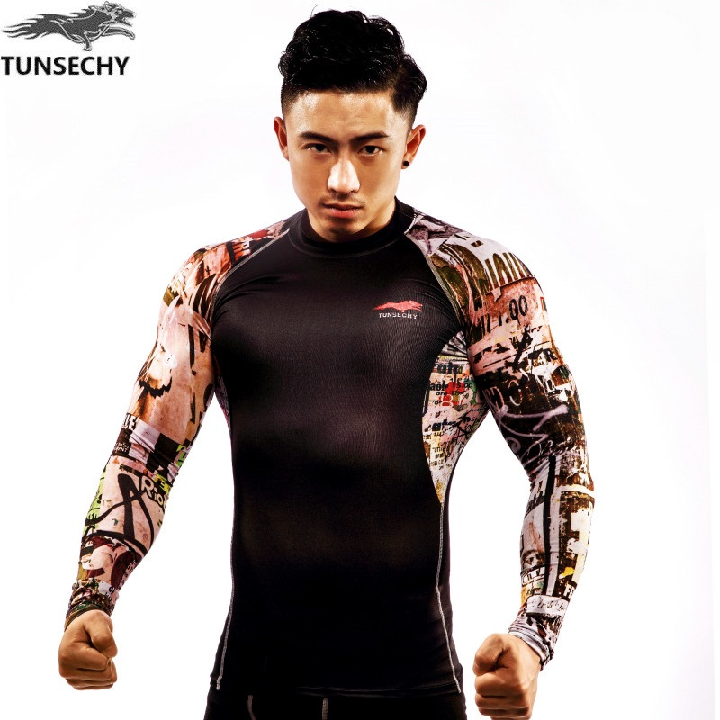 2017 YEARS New Fashion Brand TUNSECHY Men Long Sleeve tight T-shirt Digital printing Wholesale and retail free shipping