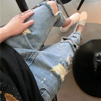 Autumn Winter Spring New Fashion Women Hole Jeans Tearing Irregular Female Paint Point Loose Plus Size Stree Harem Jeans S-XL