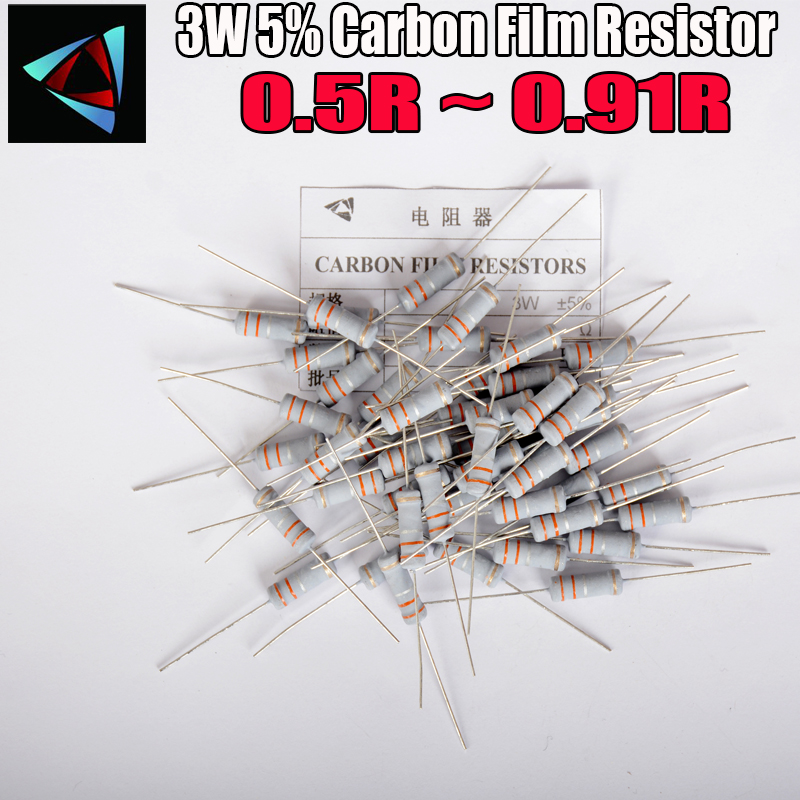 10pcs 5% 3W Metal Oxide Film Resistor 0.5 0.56 0.62 0.68 0.75 0.82 0.91 Ohm Carbon Film Resistor