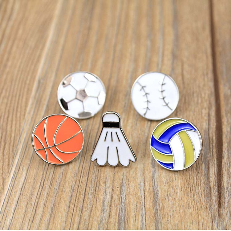 Fashion Cute Cartoon Sports Ball Soccer Basketball Badminton Brooch <font><b>Pins</b></font> <font><b>Button</b></font> <font><b>Pins</b></font> Jeans Decoration For Women Gift Wholesale image