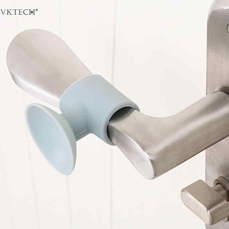 Praktis 1 Pcs Pintu Pegangan Silikon Anti Tabrakan Sucker Pintu Rumah Melindungi Pad Bisu Peredam Suction Pintu Berhenti Tikar