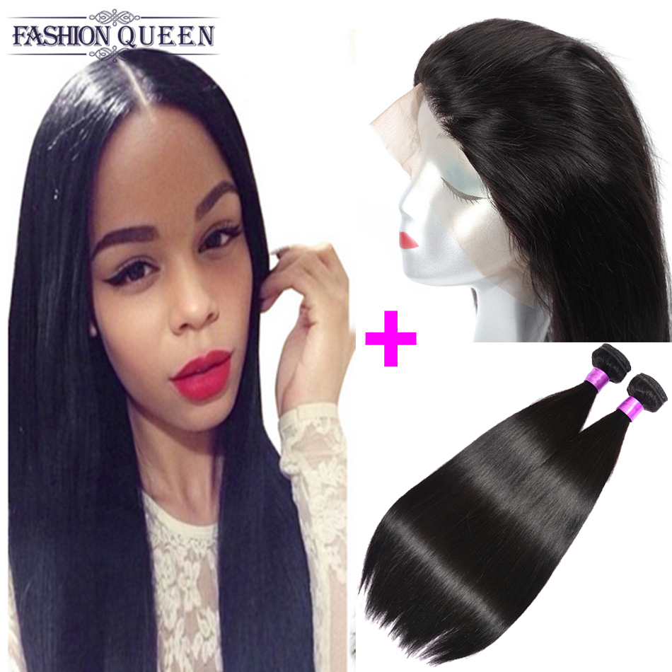 360 Lace Frontal With 2 Bundles Brazilian Straight Virgin Hair Bundles With 360 Frontal Band Bleached Knots Lace Closure