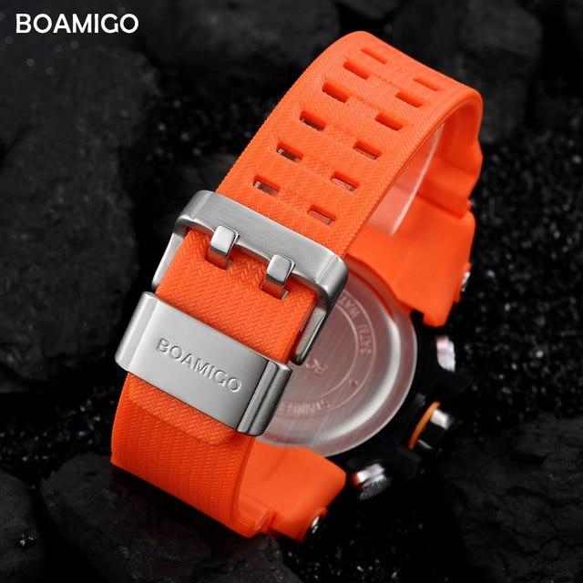 Men Sports Watches BOAMIGO Brand Digital LED Orange Shock Swim Quartz Rubber Wristwatches Waterproof Clock Relogio Masculino 3