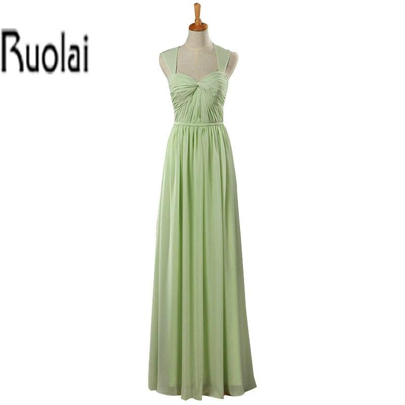 Apple Green 2016 Real Sample Chiffon Ruffles Cap Sleeves Open Back Sweetheart Long   Bridesmaid     Dresses   Custom Made