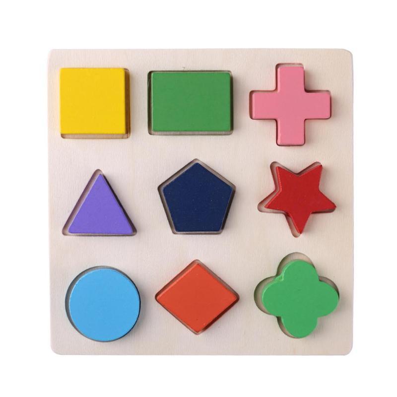 Деревянные геометрические формы головоломка Монтессори Сортировка математические кирпичи дошкольного обучения обучающая игра для малышей игрушки для детей - Цвет: A