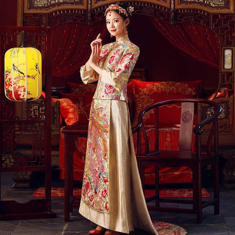 Vestido chino tradicional dragón Fénix bordado vestido de novia 2018 nueva novia brillante vestido grande Cheongsam Qipao