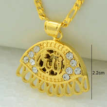 Allah/eye jewelry rhinestone women islamic pendant necklace chain arab men's gold color middle east muslims
