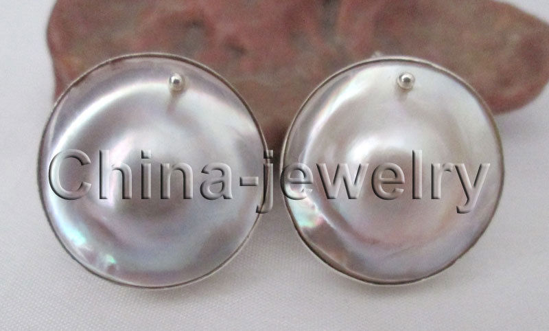 E8189 23mm natural sea water Mabe blister pearl earring 925 silver stud