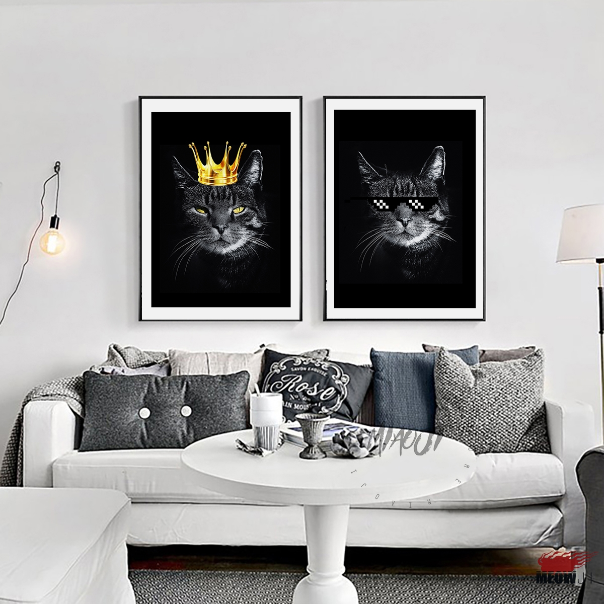 Posters Wall Art Printed Canvas Painting For Living Room Nordic Decoration  Cool Hip Hop Black Cat Home Bar Wall Decor Picture In Painting U0026  Calligraphy From ...