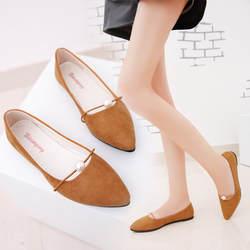 2019 женские новые модные весенне-летние туфли однотонные замшевые туфли на плоской подошве с жемчужинами и острым носком Повседневная