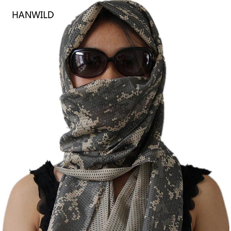HANWILD Men Unisex Camouflage Scarves Breathable Summer Shawl Wrap Sunscreen Towel Tactical Turban Military Mesh Towel 2017 New(China (Mainland))