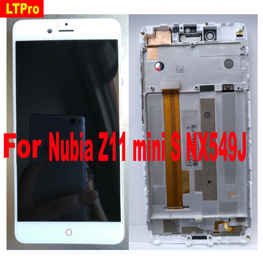 Original Sensor de 5.2 polegada Preto Branco LCD Screen Display Toque Digitador Assembléia com quadro Para ZTE Nubia Z11 mini S minis NX549J