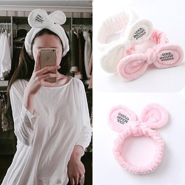 Girls Stretch Headband Hairbands Wash Shower Makeup Head Wrap Lovely Rabbit Ears Soft Towel Hair Tie Bath Spa Bow Elastic Turban