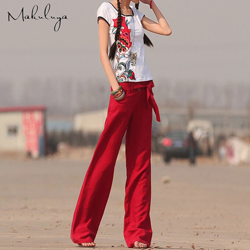 01123b3e5287c Makuluya 2017 FREE PANTS Better Linen pants plus size solid color wide leg  pants straight casual women pants XXL red trousers