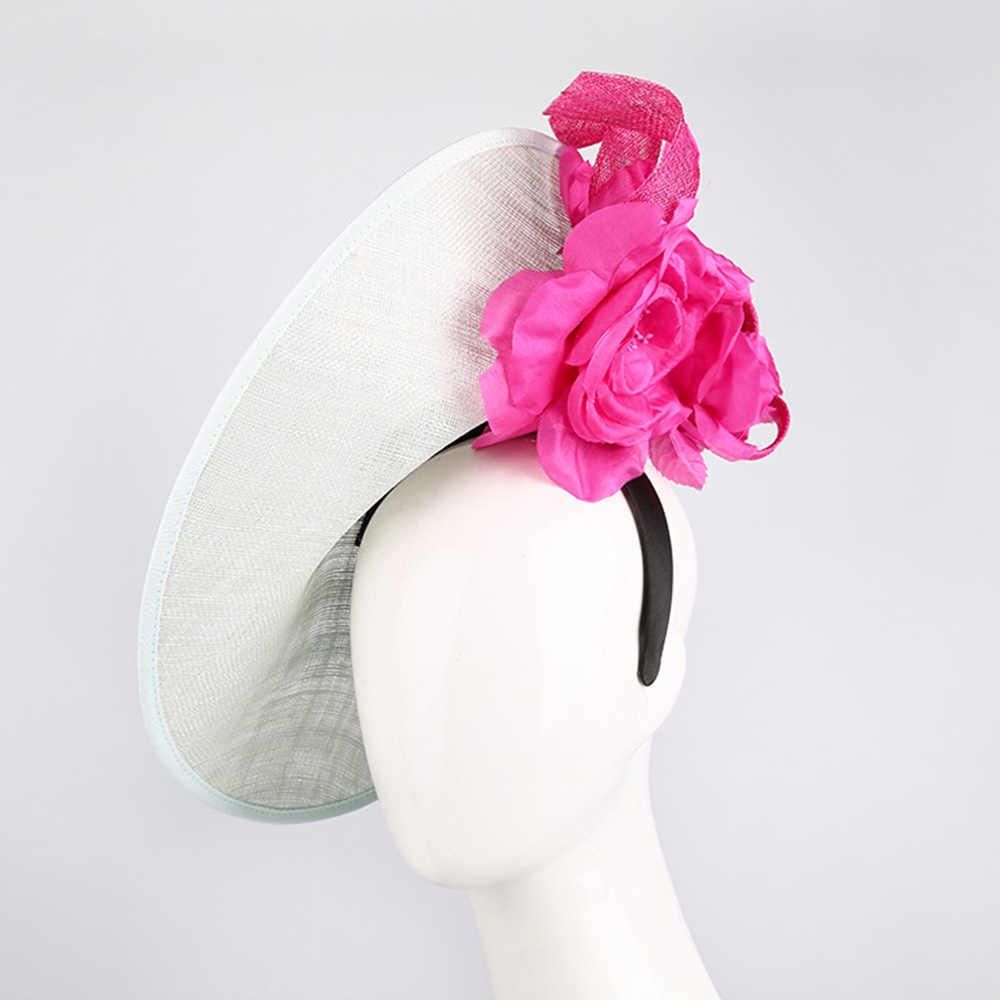 Royal Wedding Hats For Women Elegant Pink Fascinators Vintage Church Hat Wide Brim Flower Fedora Hat Cocktail Tea Party Cap
