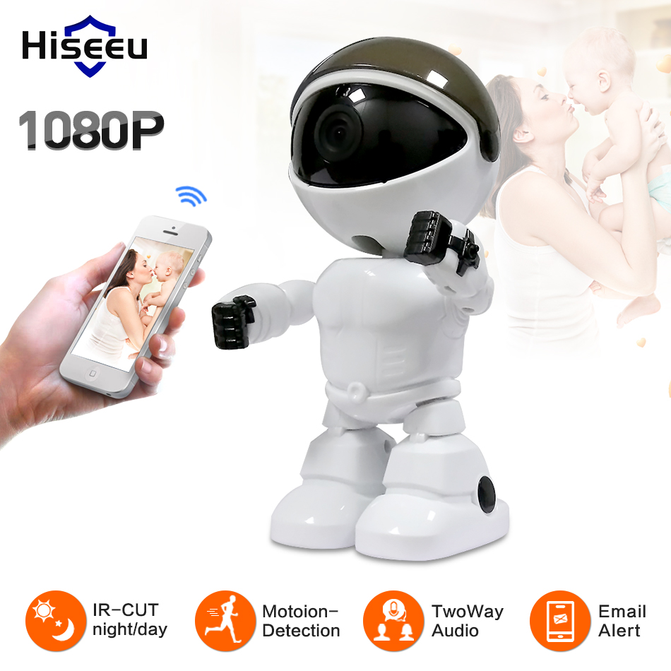 Hiseeu Wireless IP Camera 1080P wi-fi Robot camera Wifi Night Vision Camera 2MP HD IP Camera CCTV two-way audio baby monitor robot camera wifi 960p 1 3mp hd wireless ip camera ptz two way audio p2p indoor night vision wi fi network baby monitor security