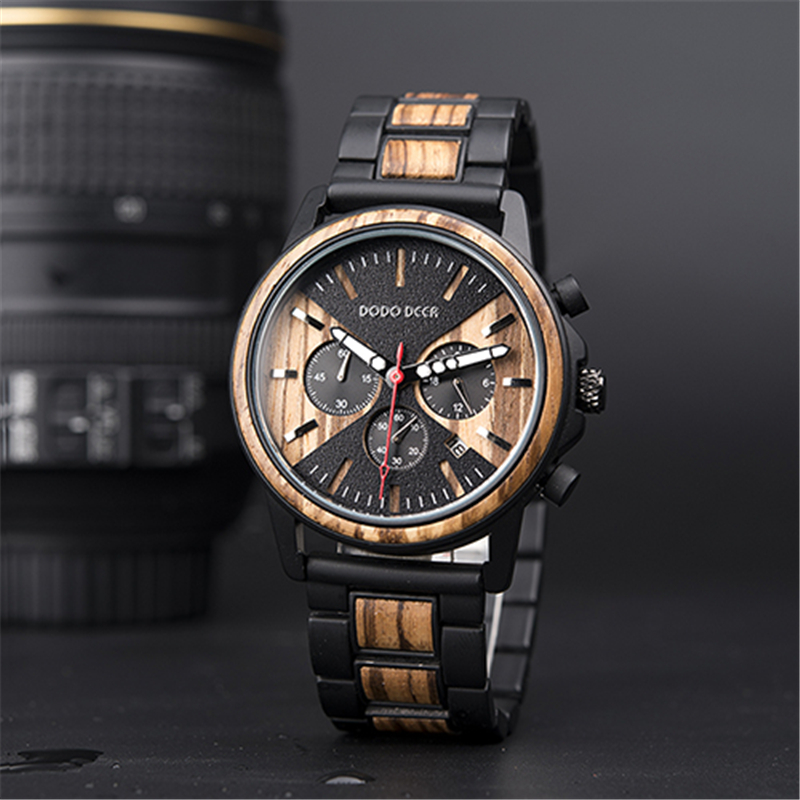 DODO DEER Relogio Masculino Wood Watch Metal Wooden Wristwatch Chronograph Watches Date Display Men's Watch Business Men C09
