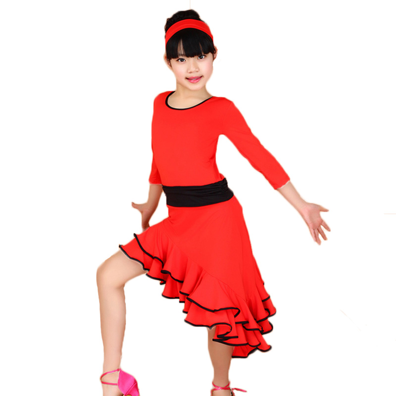 Latin Dance Dress för Girls Fashion Ballroom Dance Dresses för Kids Dancewear Children Stage Performance Kostymer