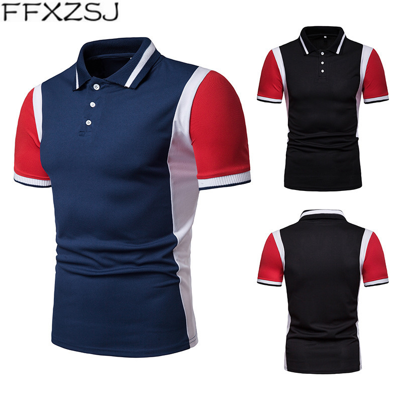 Summer   Polo   Shirt Men 2019 Classic Casual Stripe Printing Short Sleeve Patchwork Shirts Casual Formal Slim Fit   Polos   2019 Top