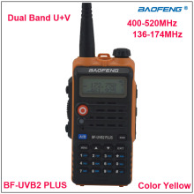 Baofeng BF-UVB2 Plus Dual Band VHF&UHF Walkie Talkie BF UVB2 two way radio Yellow Color w/Earpiece  1200mAh Li-ion Battery