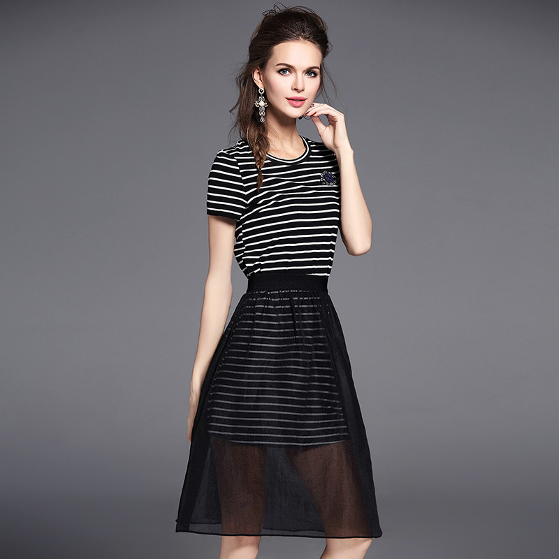 3482f618b0bf New Summer Two Piece Set Women O neck Short Sleeve White and Black Striped  Cotton Dress + See Through Sheer Mesh Skirt Suits-in Women's Sets from  Women's ...