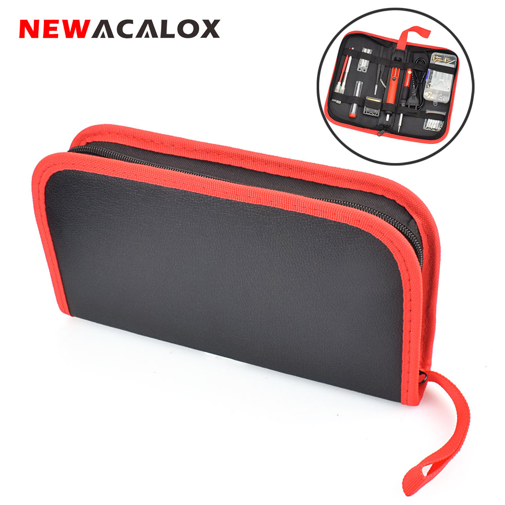 NEWACALOX Portable Household Electric Soldering Iron Tool Bag Multi-function PU Leather Zipper Tools Bag Hardware Repair Toolbag