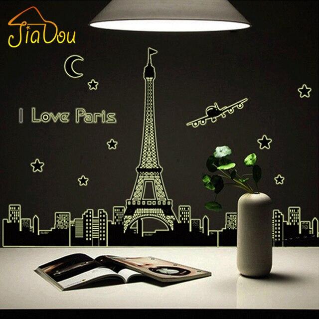Я Люблю Пары Эйфелева Башня Прекрасный Вид Париже Световой Флуоресцентный стены Стикеры Искусство Home Decor Спальня Этикета Свечение в темно-
