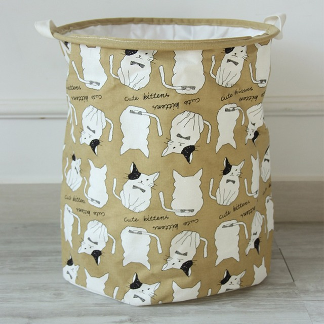 New Cute Animals Pattern Cartoon Folding Laundry Baskets Dirty Clothes  Storage Bag Cotton Linen Washing Hamper