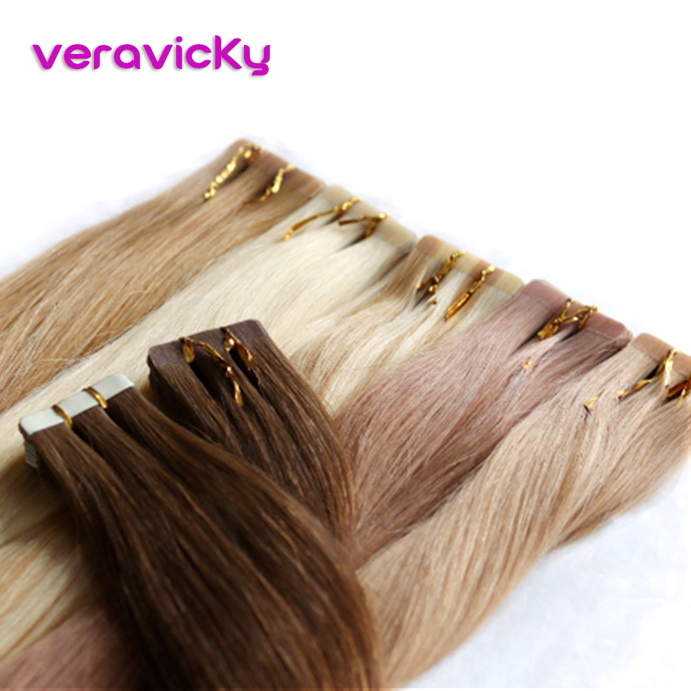 Tape In Hair Extensions Human Hair 100% Real Remy Human Hair Extension Adhesive Russian Hair Extensions 2.0g/Piece 16 Inc 20g/pack