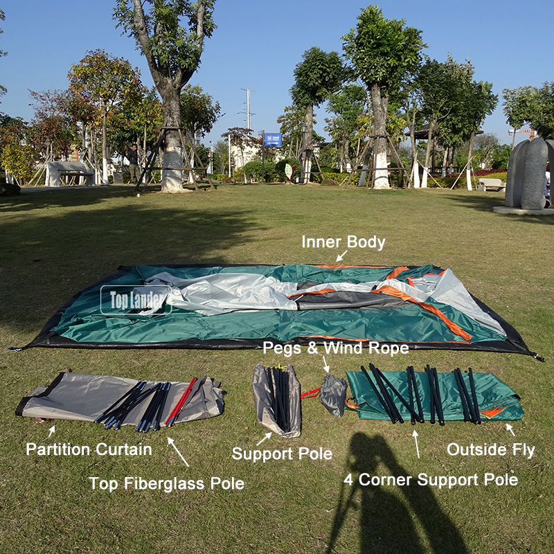 4 - 6 Person Large Family Camping Tents Waterproof Double Layer Outdoor Party Two Bedrooms Windproof 4 Season Beach Cabin Tent