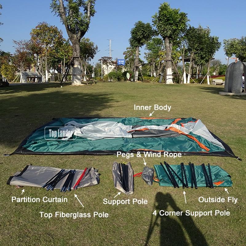 4-6 personnes grande famille Camping tentes imperméable Double couche partie extérieure deux chambres coupe-vent 4 saison plage cabine tente - 4