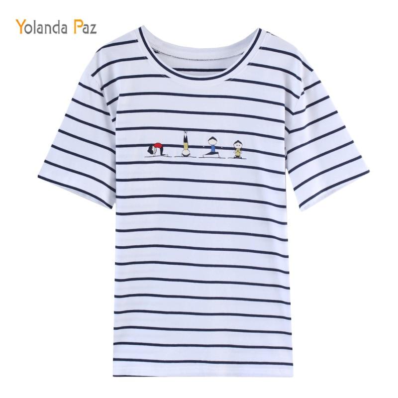 Yolanda Paz Summer Womens T-shirts Blue Stripe Short Sleeve Female T-shirt Loose Cotton T Shirt New Fashion Tops Tees