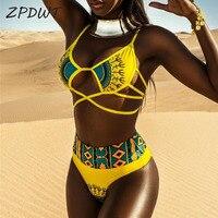 Zpdwt زائد حجم ملابس السباحة عالية الخصر المرأة القبلية طباعة بيكيني ضمادة المايوه أنثى مايوه باين دي فام biquini