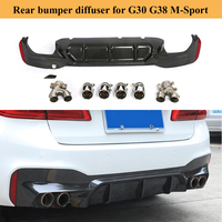 For G30 G38 Car Rear Bumper Diffuser for BMW 5 Series G30 G38 M Sport 540i Sedan 4 Door 2018 2019 with 4 Exhaust Tips