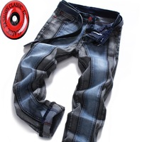 2015 Color Block Men S Slim Straight Jeans Fashion Brands Rock Elastic Denim Trousers For Men