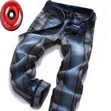 2015 Color Block Mens Slim Straight Jeans Fashion Brands Rock Elastic denim trousers for Men