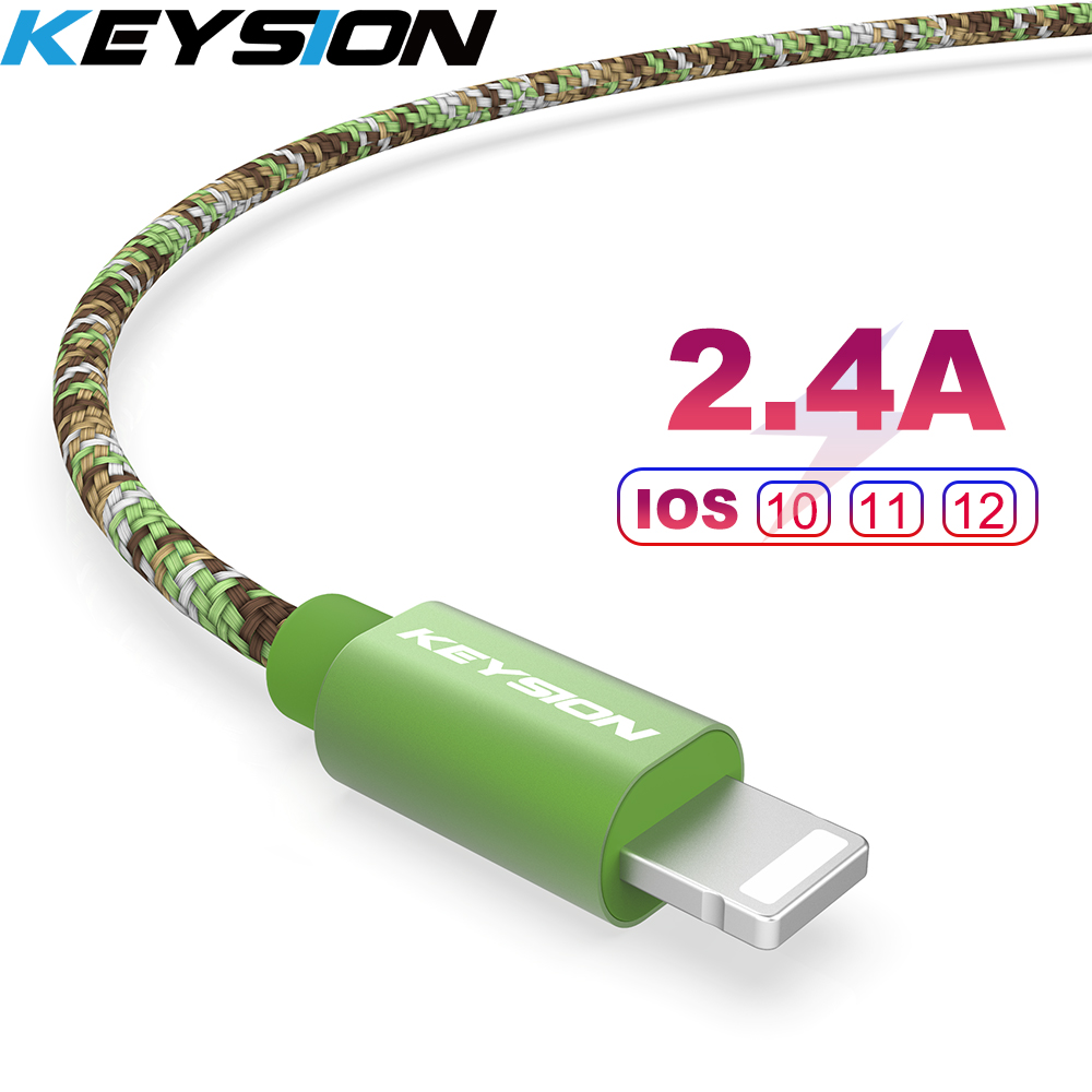 KEYSION Mobile Phone Cable For IPhone XS Max XR 7 8 6 Plus Camo Braided USB Charger Cable