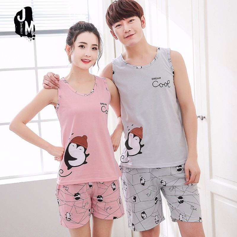 New Summer Couples   Pajamas   Sexy Sleeveless O-neck   Pajama     Set   Cute Penguin Letter Sleepwear   Pajamas   Big Size XXXXL 2 Pieces   Set