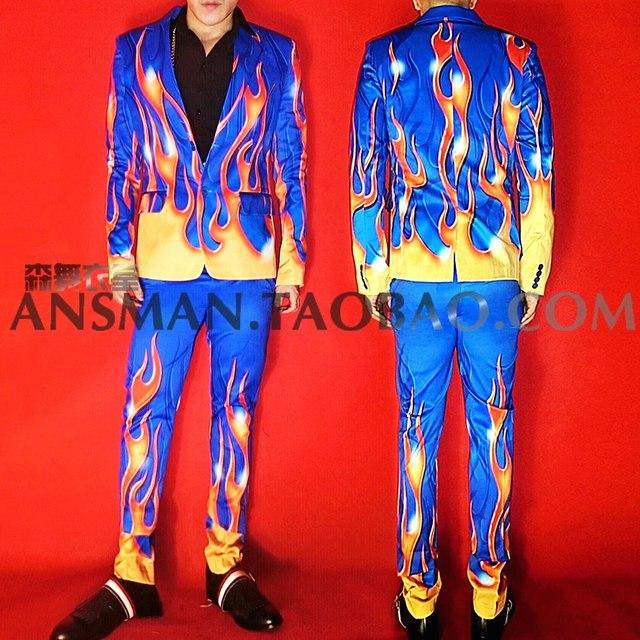 2019 Men's New Nightclub Bar male singer Blazer Men DJ model Blue background flame high-end Elasticity suits Plus Size clothes