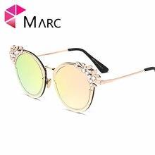c00749c0d3 MARC UV400 mujeres nuevas gafas de sol gradiente claro espejo gato ojo  astilla Rosa Aleación de Metal sin montura de diamante de.
