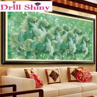 Modern Art Painting 3D Diy Diamond Painting Jade Carving Eight Horse Animal Diamond Embroidery Home TV Background Wall Decor