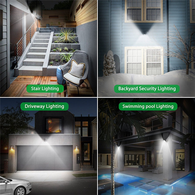 ARILUX PIR Sensor de movimiento Solar lámpara 10 W luz LED 66 COB LED impermeable luz al aire libre lámpara de pared gran angular