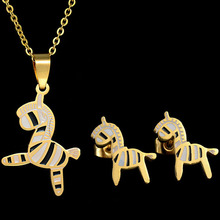 Eleple Titanium Stainless Steel Cute Unicorn Necklace Earring Set Women Exquisite Cartoon Party Jewelry Manufacturers S-S029