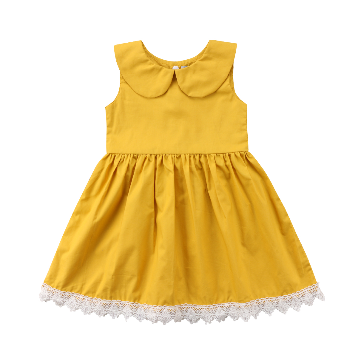 Toddler Girl Princess Dress Summer Sleeveless Yellow Cute Girls Clothing Round Neck Kids Baby Party Pageant Solid Lace Flower ems dhl free shipping toddler little girl s 2017 princess ruffles layers sleeveless lace dress summer style suspender