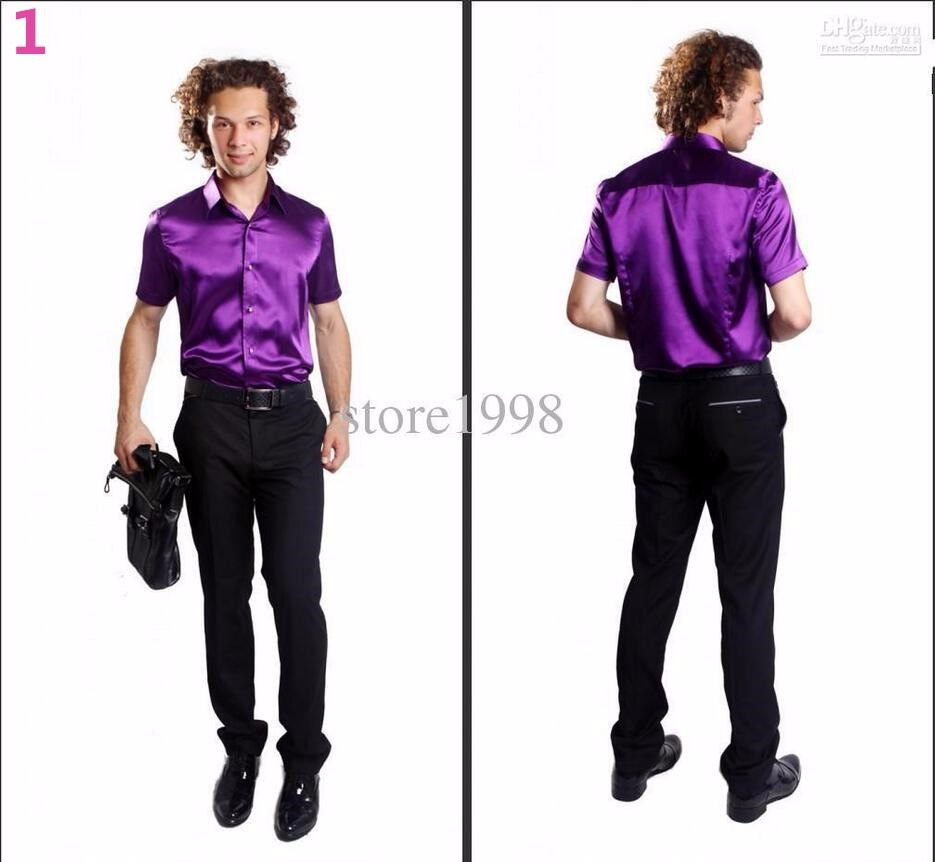 1-1 Hot Sale Men Short Sleeve Wedding Groom satins Shirts 9 Colors Bridegroom Shirt