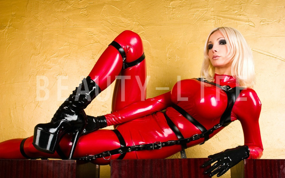 Buy Latex fetish catsuit binding belt exotic apparel costumes NEW coming sexy